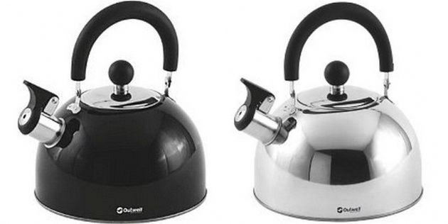 Outwell TEA BREAK KETTLE 2.2LTR- Stainless-steel & Black, Camping & Outdoor Leisure Accessories - Grasshopper Leisure